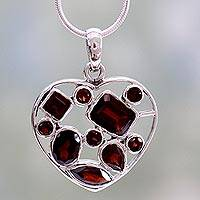 Garnet heart necklace, 'My Love' - Garnet Heart Necklace Artisan Crafted Birthstone Jewelry