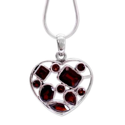 Garnet Heart Necklace Artisan Crafted Birthstone Jewelry