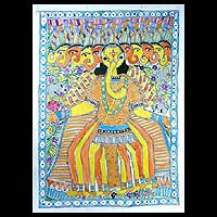Madhubani painting, 'Ten Headed Ganesha' - Madhubani painting