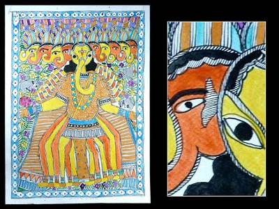 Madhubani painting, Ten Headed Ganesha