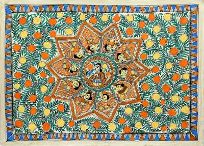 Madhubani painting, 'Krishna with Village Women' - Madhubani painting