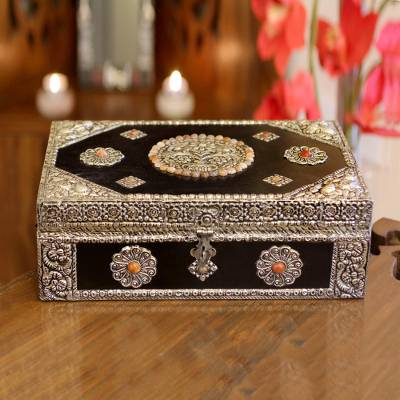 Brass jewelry box, 'Antique Sophistication' - Repousse Brass Jewelry Box