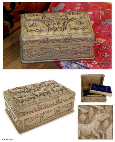 Walnut box, 'Animals' - Hand Carved Wood Decorative Box