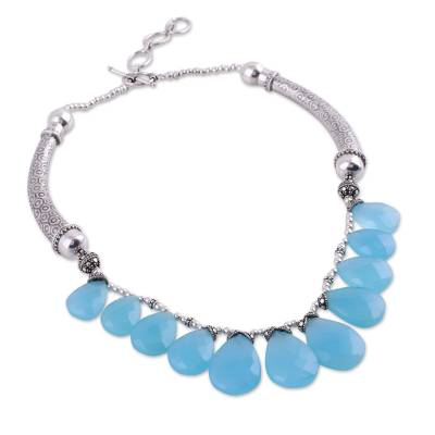Sterling Silver Chalcedony Necklace from India