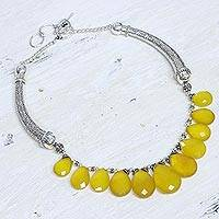 Chalcedony choker, Yellow Petals - Sterling Silver Waterfall Chalcedony Necklace