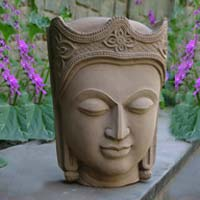 Sandstone sculpture, 'Glorious Buddha' - Sandstone sculpture