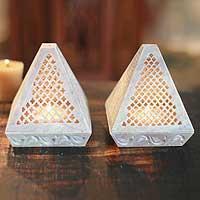 Soapstone candleholders,