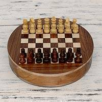 Wood chess set, 'Circle' - Wood Chess Set Board with Storage Drawers