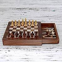 Wood chess and backgammon set, 'Classic' - Hand Carved Combination Chess Backgammon Set