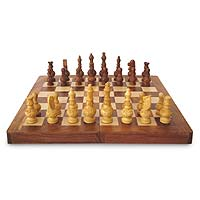 Wood chess set, 'Persian War' - Chess Set Hand Carved Wood Folding Storage Box