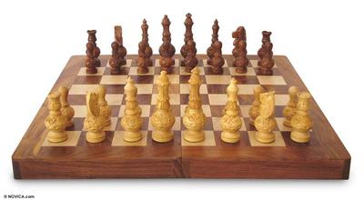 Wood chess set, 'Persian War' - Chess Set Hand Carved Wood Folding Storage Box