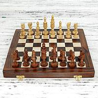 Wood chess set, 'Mughal Challenge' - Handmade Wood Chess Set Game with Storage