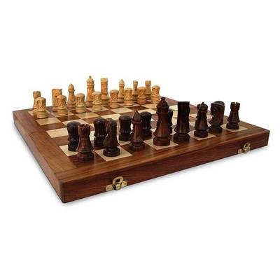 Wood chess set, 'Wisdom' - Fair Trade Chess Set Handcarved Wood with Velvet Lining