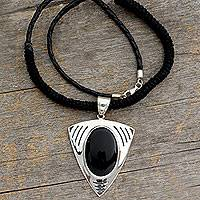 Onyx and leather pendant necklace, 'Black Rose' - Onyx and leather pendant necklace
