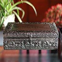 Brass jewelry box, 'Gleaming Clouds' - Handmade Brass Repousse Jewelry Box