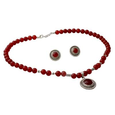 Carnelian Jewelry Set on Sterling Silver from India