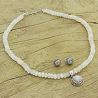 Moonstone jewelry set, 'Rainbow Moons' - Moonstone Jewelry Set Sterling Silver Necklace Earrings