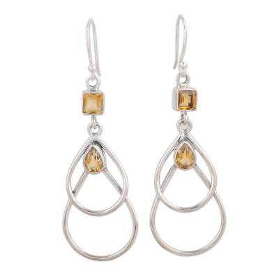 Hand Crafted Citrine and Sterling Silver Dangle Earrings