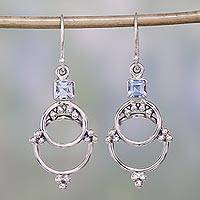Blue topaz dangle earrings, 'Jaipur Magic' - Blue Topaz and Sterling Silver Dangle Earrings