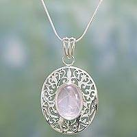 Rose quartz pendant necklace, 'Rose Nest' - Rose quartz pendant necklace