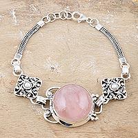 Rose quartz and pearl pendant bracelet,