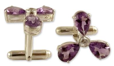Amethyst Cufflinks Sterling Silver Cubic Zirconia Jewelry