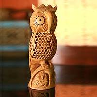 Wood statuette, 'Mother Owl' - Hand Crafted Wood Bird Sculpture