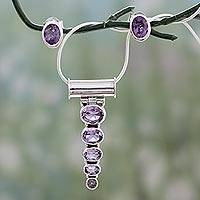 Amethyst jewelry set, 'Aware' - Amethyst Necklace and Earrings Jewelry Set