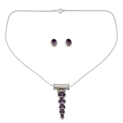 Amethyst Necklace and Earrings Jewelry Set