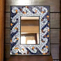 NOVICA - India - All mirrors - Mirror, 'Surf' :  mirror design wall vain