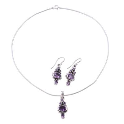 Indian Amethyst and Sterling Silver Jewelry Set from India