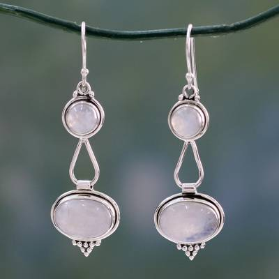 Rainbow moonstone dangle earrings, 'Goddesses' - Rainbow Moonstone Earrings Sterling Silver Handmade