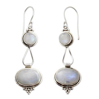 Rainbow Moonstone Earrings Sterling Silver Handmade