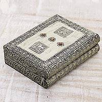 Brass jewelry box, 'Royalty' - Brass Jewelry Box from India