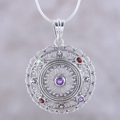 Multi-gemstone pendant necklace, 'Gemstone Mandala' - Hand Crafted Sterling Silver Multigem Pendant Necklace