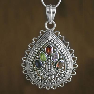 Multi-gemstone pendant necklace, 'Tree of Life' - Handcrafted Sterling Silver Multigem Pendant Necklace