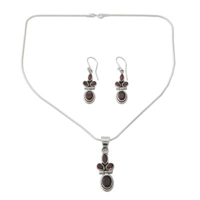 Garnet Earrings and Necklace Jewelry Set