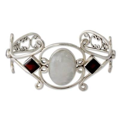 Moonstone Garnet and Amethyst Sterling Silver Cuff Bracelet