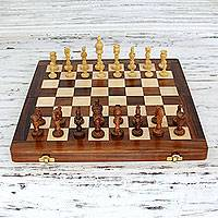 Wood chess set, 'Royal Challenge' - Hand Carved Wood Chess Set Folding Board