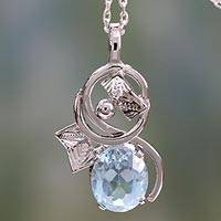 Topaz pendant necklace, 'Blue Lake' - Sterling Silver and Blue Topaz Necklace from India