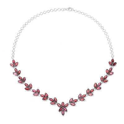 Garnet Sterling Silver Y Necklace India Artisan Jewelry