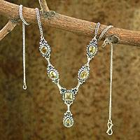 Citrine Y-necklace, 'Sunshine' - Citrine and Sterling Silver Y Necklace