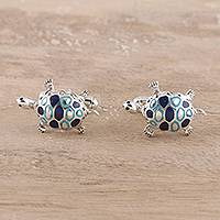 Sterling silver cufflinks, 'Trendy Turtles' - Sterling Silver Cufflinks Good Luck Mens Jewelry Turtles