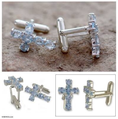 Blue topaz cufflinks, 'Celestial Cross' - Men's Cufflinks Sterling Silver Blue Topaz Cross Jewelry