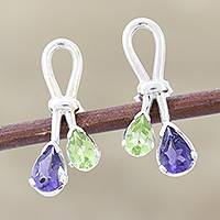 Iolite and peridot button earrings, 'Promise' - Iolite and Peridot Earrings Sterling Silver Jewelry