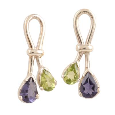 Iolite and Peridot Earrings Sterling Silver Jewelry