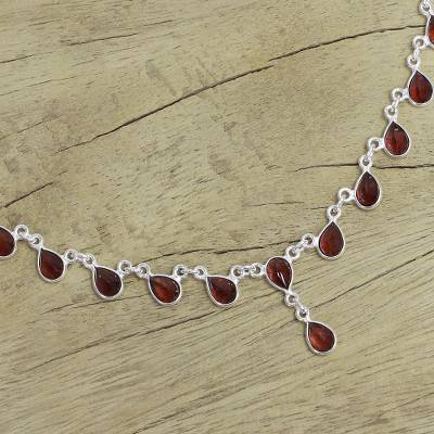 Garnet waterfall necklace, 'Scarlet Droplets' - Artisan Crafted Sterling Silver Waterfall Garnet Necklace