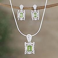 Peridot jewelry set, 'Majestic Scrolls' - Peridot jewelry set