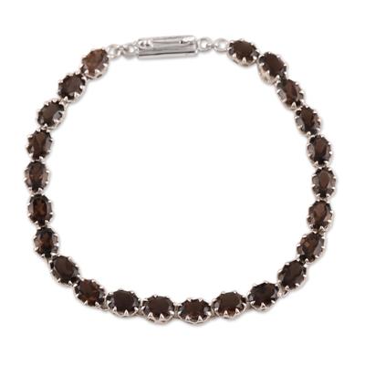 Smoky quartz tennis bracelet