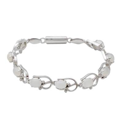 Unique Moonstone Rhodium Plated Sterling Silver Tennis Style Bracelet